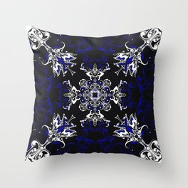 Dark Blue, Black, and White Pattern Throw Pillow