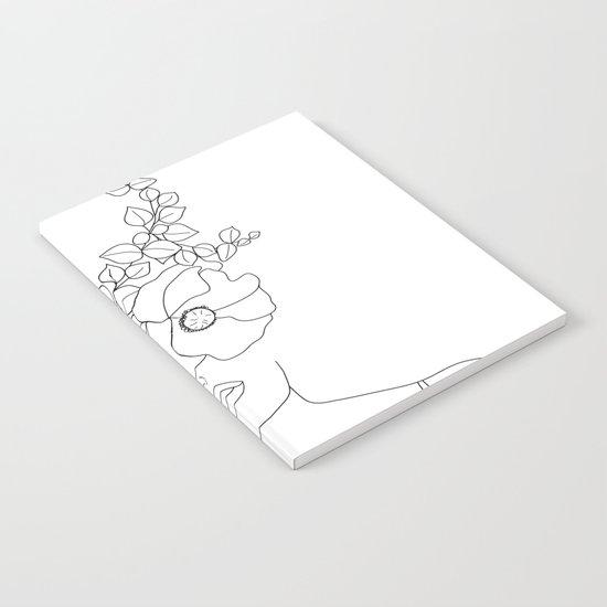 Minimal Line Art Woman with Flowers II by nadja1