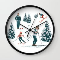 sports Wall Clocks featuring Sports d'hiver by Vannina