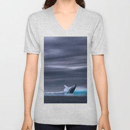 Whale in ocean night Unisex V-Neck