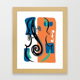 Scroll Pride - violin viola cello love - orange and teal Framed Art Print