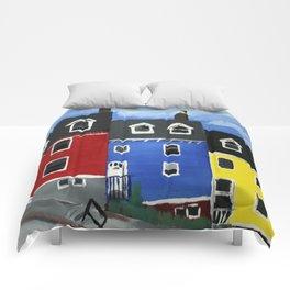 Newfoundland Houses Canada acrylics on canvas Comforters