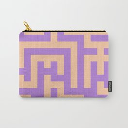 Deep Peach Orange and Lavender Violet Labyrinth Carry-All Pouch