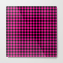Classic Hot Pink Country Cottage Summer Buffalo Plaid Metal Print