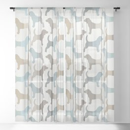 Beagle Silhouettes Pattern - Natural Colors Sheer Curtain