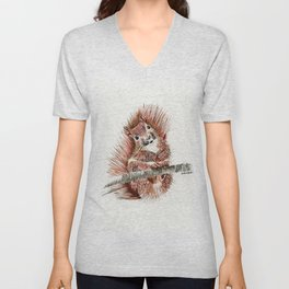 Squirmy Squirrel - animal watercolor painting Unisex V-Neck