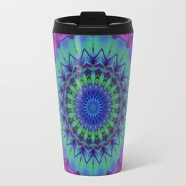 PURPLE, GREEN AND BLUE MANDALA Travel Mug