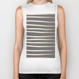 Simply Drawn Stripes White Gold Sands on Storm Gray Biker Tank