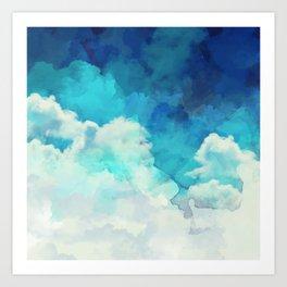 Absract Watercolor Clouds Art Print
