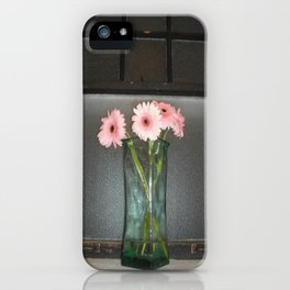 pink daisies ~ flowers on vintage sill iPhone Case