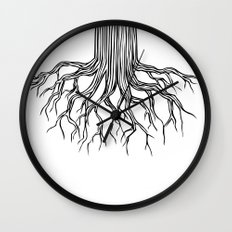 Tree Root Drawing (black on white) Wall Clock