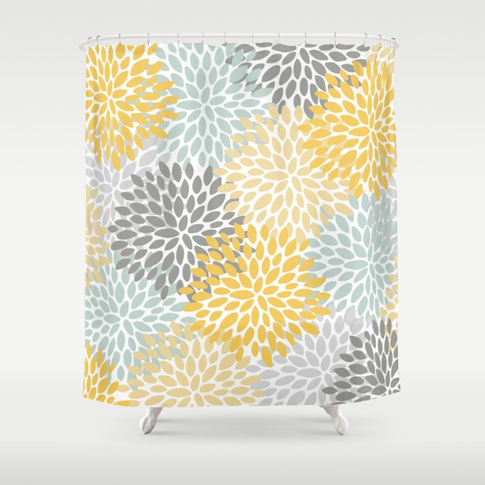 Floral Pattern, Yellow, Pale, Aqua, Blue And Gray Shower