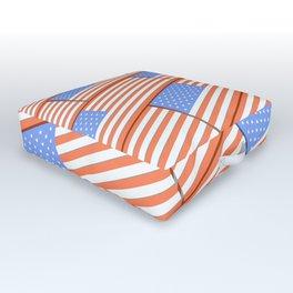 US flag in blocks Outdoor Floor Cushion