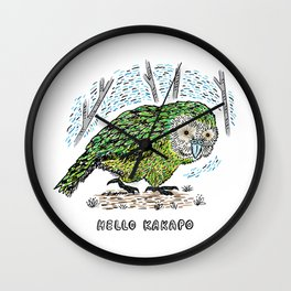 Hello Kakapo Wall Clock