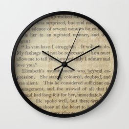 Pride and Prejudice  Vintage Mr. Darcy Proposal by Jane Austen   Wall Clock