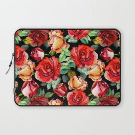 Hand painted black red watercolor roses floral Laptop Sleeve