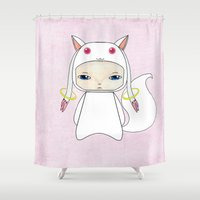 madoka Shower Curtains featuring A Boy - Kyubey by Christophe Chiozzi