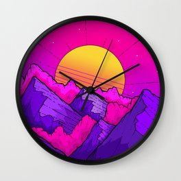 Pink sky mountains Wall Clock