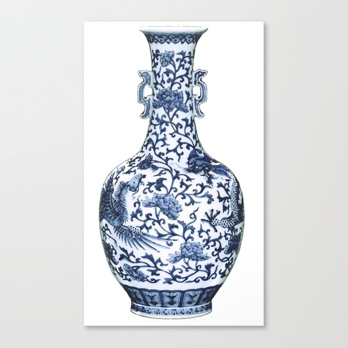 Blue White Chinoiserie Porcelain Fl Vase With Flying Phoenix Canvas Print