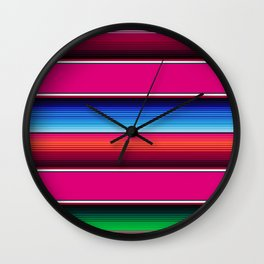 Traditional Mexican Serape in Pink Multi Wall Clock