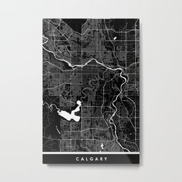 Calgary - Minimalist City Map Metal Print