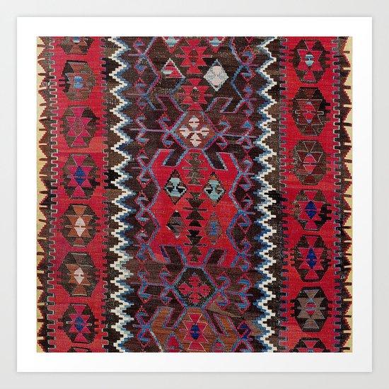 Obruk Konya Turkish  Antique Kilim Rug Print by vickybragomitchell