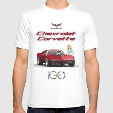 70's Corvette  MEDIUM White Mens Fitted Tee
