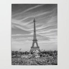 PARIS Eiffel Tower with skyline | monochrome Poster