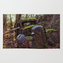 Mossy Abandoned Truck Rug