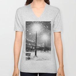 New York City Night Snow Unisex V-Neck
