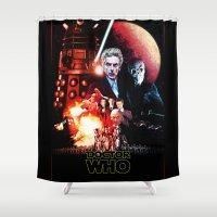 starwars Shower Curtains featuring StarWars / DoctorWho by thedrunknown