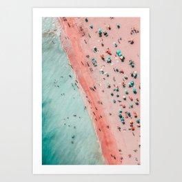 Aerial Beach Print, Ocean Art, Bondi Beach, Beach Art Print, Beach Photography, Modern Beach Lifestyle Print Art Print