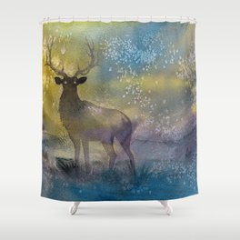 Burning Mists - watercolor illustration painting of an elk coming out of a magical fairy mist from a Shower Curtain