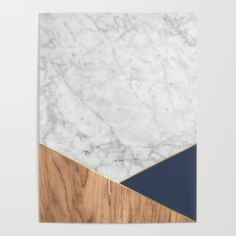 White Marble - Wood & Navy #599 Poster