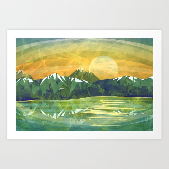 Mountains and Sunset over the lake Art Print