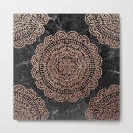 Mandala - rose gold and black marble 2 Metal Print