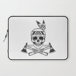 Skull of american indian tribe with tomahawk logo. Illustration in monochrome style Laptop Sleeve