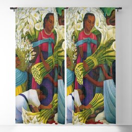 Classical Masterpiece 'The Flower Vendor' by Diego Rivera Blackout Curtain