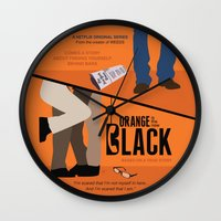 oitnb Wall Clocks featuring OITNB by MLauxDesign