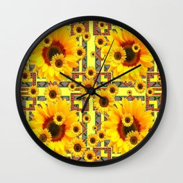 KANSAS WESTERN STYLE YELLOW SUNFLOWER FLORAL Wall Clock