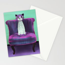 Elegant Cat turquoise Stationery Cards