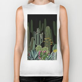 Cactus Garden at Night Biker Tank