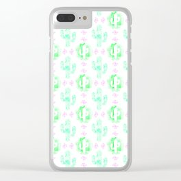 Green and pink watercolor cactus Clear iPhone Case