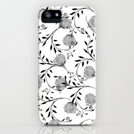 Black white watercolor botanical roses floral iPhone Case