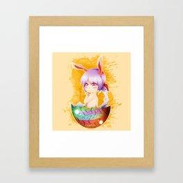 Easter Bunny Girl Beige Background Framed Art Print