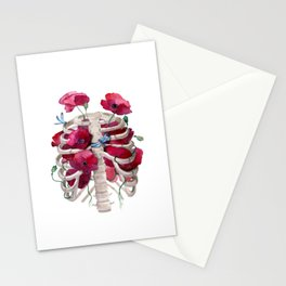 Rib cage with poppy Stationery Cards