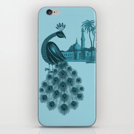 Blue peacock oriental dream iPhone Skin