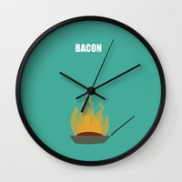 bacon Wall Clocks featuring Bacon! by Suchita Isaac