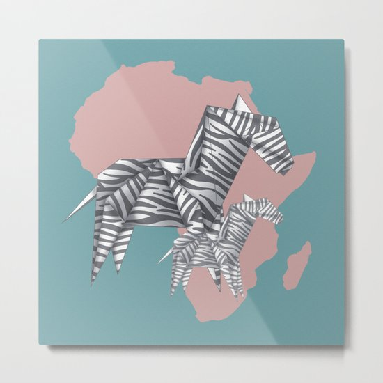 ZEBRAS (Origami animals) Metal Print