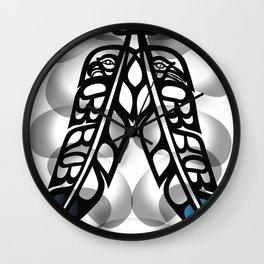 Heiltsuk Eagle & Raven Feathers Wall Clock
